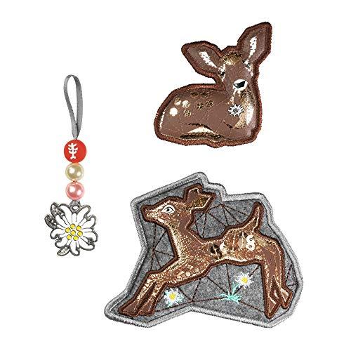 """Step by Step Magic Mags """"Modern Deer"""", 3-teilig, 2 Magnet-Applikationen und 1 Anhänger, als Ergänzung für den Schulranzen oder Vorschulrucksack, für Mädchen"""