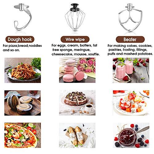 Hauswirt Küchenmaschine Multifunktional Knetmaschine 5L Edelstahl-Rührschüssel 8 Geschwindigkeit 1000W elektrischer Küchenmixer mit Rührbesen, Knethaken, Schlagbesen LCD Bildschirm - 7