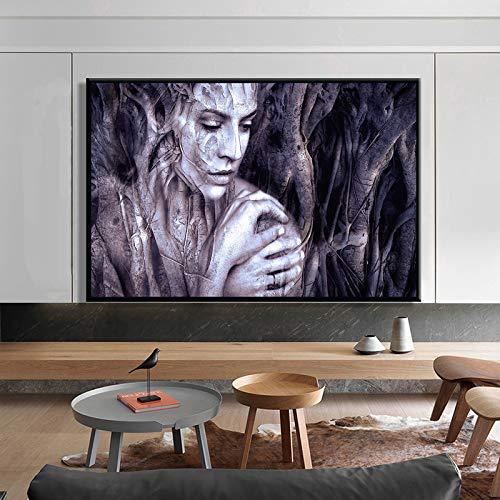 SADHAF Moderne muurkunst op canvas, houtsnijwerk voor dames, schilderwerk, decoratie voor woonkamer 60x80cm (senza cornice) A4.