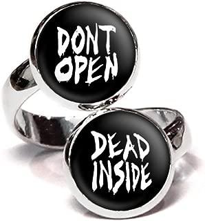 Wearable Treasures Don't Open Dead Inside Ring, Walking Dead Jewelry, Zombie Earrings, Z Nation Necklace, Walkers Pendant, Zombies Birthday Gift, Geek Geeky Gifts, Nerd Nerdy Present
