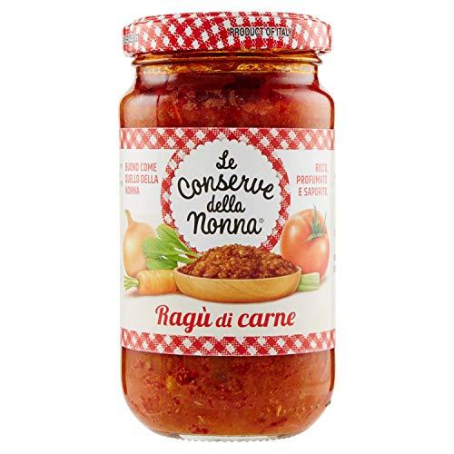Le Conserve della Nonna- Salsa de Ragú de Carne - Rico, Perfumado y Sabroso- Salsa Ideal para Tus Pastas - Producto 100 {db37d8cdf8aea4c84241a5a39b53dcbe0deb17acbbff9d5f85e363ac1726c98c} Italiano- 190 Gramos