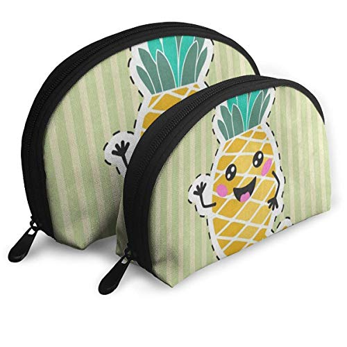 Sac de maquillage Cartoon Stripe Pineapple Portable Shell Pochette pour les filles Thanksgiving Day Gift Pack - 2