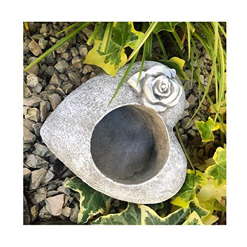 Radami Grabherz Rose Grabschmuck Gedenkstein Trauerherz für Grablicht 15cm