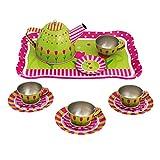 Bino & Mertens 83388 Bino Tee-Set, Spielzeug ab 3 Jahre, Kinderspielzeug (Kinder Teeservice in kindgerechtem Design, 15 teilig, für 4 Personen, Robustes Material, Kinderzimmer Zubehör), Grün/Rosa