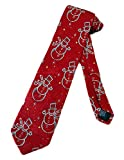 John Ashford Mens Snowmen Necktie - Red - One Size Neck Tie