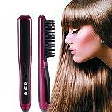 Multifuncional pelo recto peine barba alisador cepillo 6 secciones control temperatura eléctrico recto pelo peine