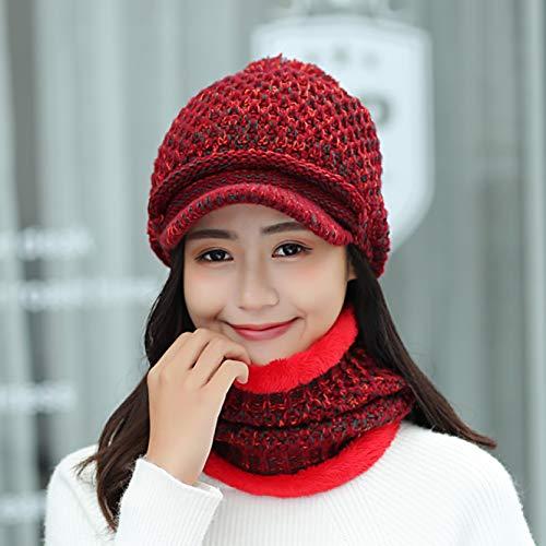 BGBG Sombrero de invierno de invierno grueso cálido sombrero bufanda conjunto para las mujeres sólido señoras retro de punto al aire libre gorra de béisbol femenino anillo bufanda