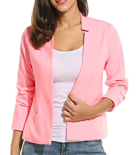 MeaneorBlazerDamenSakkoStehkragenmitTaschenKurzeJackeWinterFrühling Pink XL