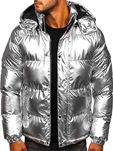 BOLF Herren Steppjacke Metallish Winterjacke Langarm Jacke Enfarbig Übergangsjacke Kapuzenjacke Warm Wintermantel J.Boyz 1165 Silber L [4D4]