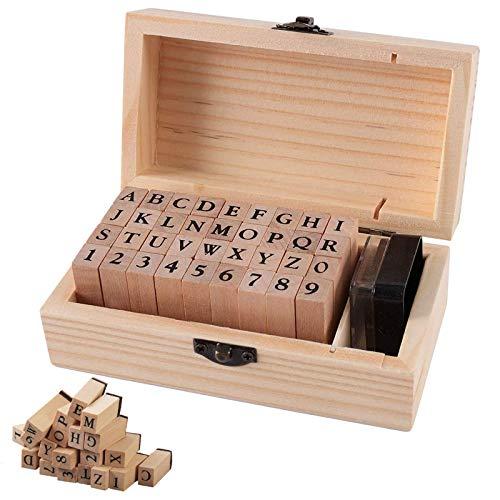 Alphabet Stempel Zahlen Stempel Buchstaben Briefmarken Hölzerne Stempel Set holzstempel Stempel Vintage Symbol Stempel Letters Stempel mit eine Holzkiste für DIY-Grußkarten Geschenk Sammelalben
