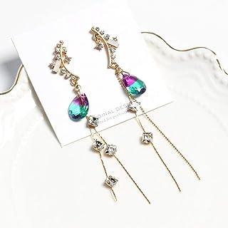 Erin Earring Ciondolo di Cristallo Viola Orecchini di Strass Lucido Coreano Ali di Nappa delle Donne