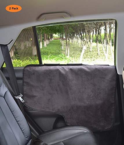 PETTOM Auto Felpudos 2 Felpudos para Las Puertas Traseras Protector de Las Puertas Interiores del Coche Mantas de Puerta de Coche Contra Las Huellas del Perro, Color Negro