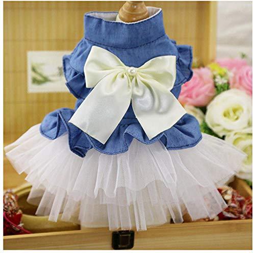 MUXIAND Huisdier hond jurk lente zomer katoen gaas jurk trouwjurk in denim rok huisdier kat Zomer huisdier kleding, XXL