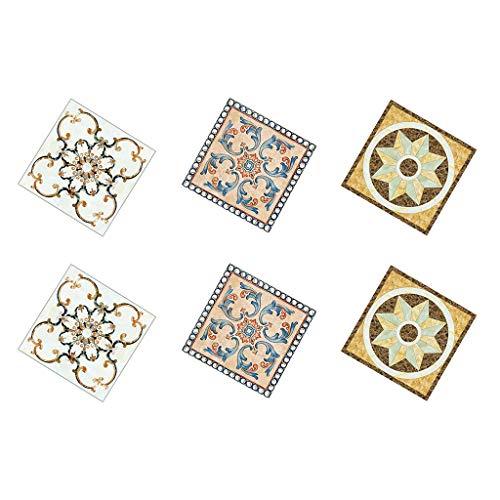 perfk 60pcs Adhesivo de Azulejos de PVC Impermeable Vintage para Azulejos de Piso, Cocina Y Baño 20x8cm - 01 + 05 + 04