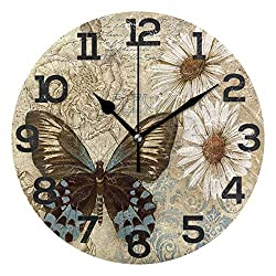 Dozili Vintage Butterfly Round Wall Clock Arabic Numerals Design Non Ticking Wall Clock Large for Bedrooms,Living Room,Bathroom
