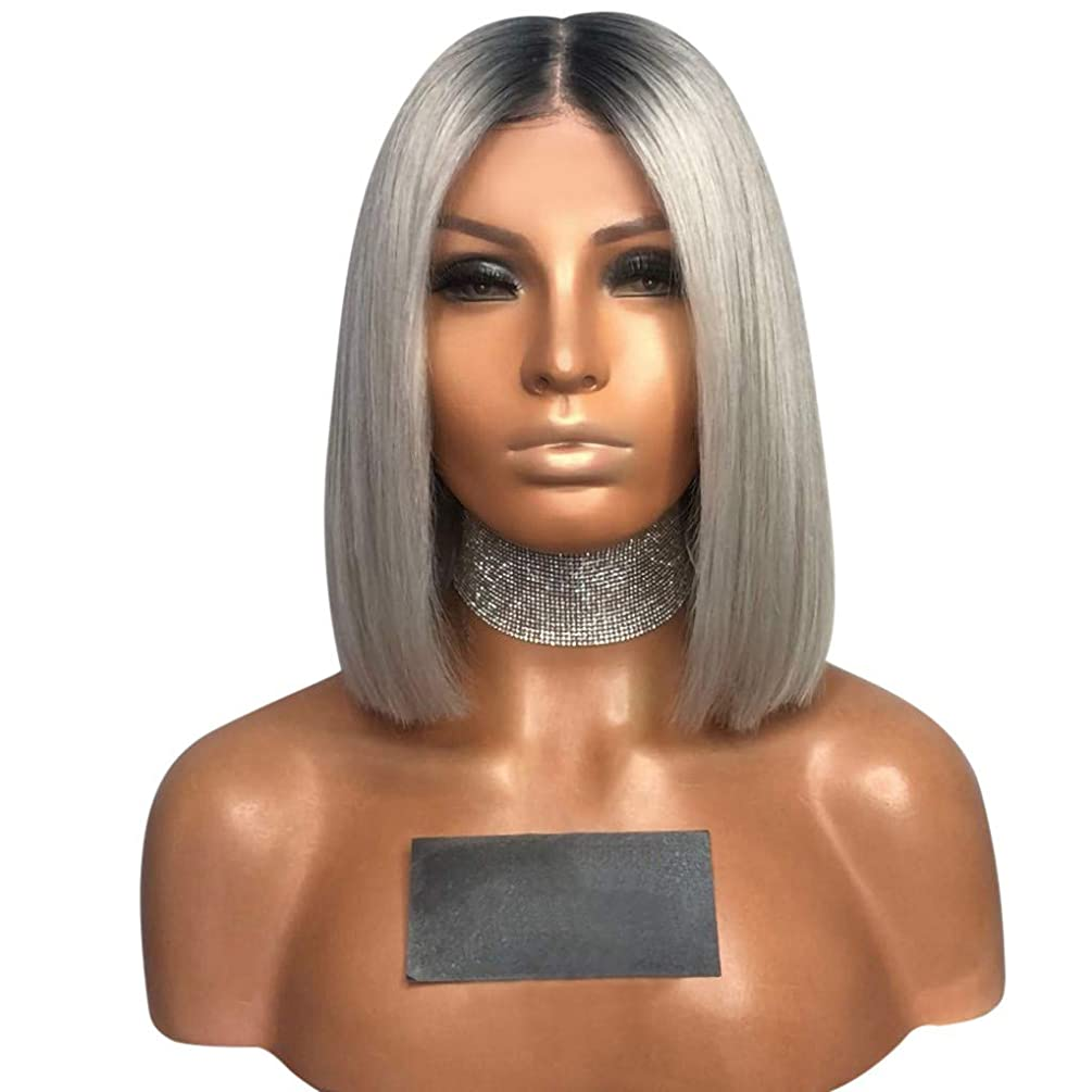 Clearance Sale!DEESEE(TM)????Sexy Gradient Gray Party Wigs Short Curly Hair Mixed Colors Synthetic Wig