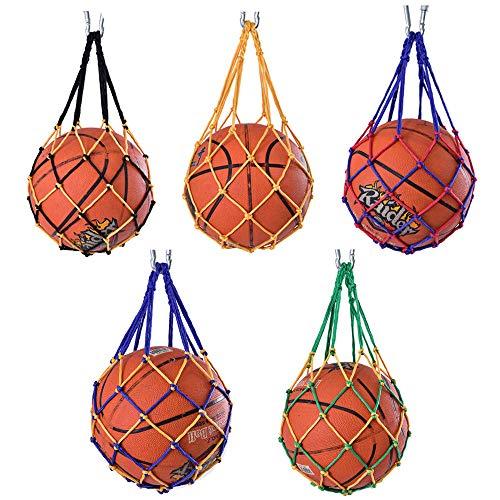 ysister 5 Piezas Bolso de Malla de Malla de fútbol, Bolso de Red de Fútbol, Bolso de Malla de Balones de Nailon, Deportes Malla Bolso de Baloncesto Voleibol Futból, para Baloncesto Voleibol Rugby