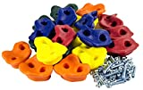 """Squirrel Products 20 Extra Large Deluxe Rock Climbing Holds - with Mounting Hardware for up to 1"""" Installation - Outdoor Play Accessories - Ages 3 Years and Older"""