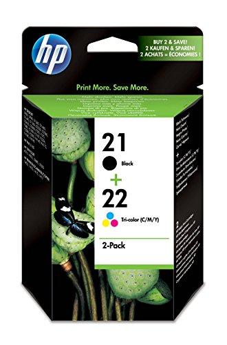 HP 21/22 SD367AE pack de 2, cartouches d'encre d'origine, imprimantes HP DeskJet et HP OfficeJet, noir et trois couleurs (cyan, magenta, jaune)
