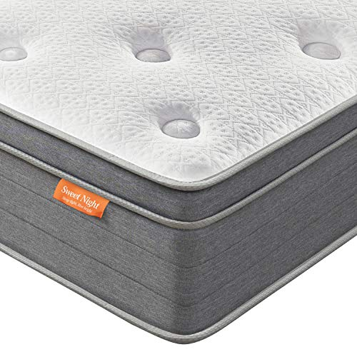 King Mattress, Sweetnight 12 Inch Plush Pillow Top King Size Mattressm, Individually Pocket Spring Hybrid Mattress with Cooling Gel Memory Foam for Motion Isolation and Cooler Sleep, Island