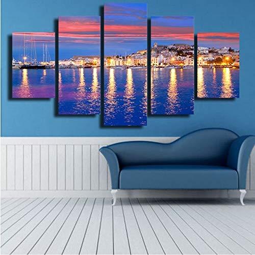 jasonding Sin Marco Fotos De Lienzo Wall ArtPrints Posters 5 Unidades Hermosa Isla De IbizaNoche Vista Al Mar Pinturas Decoración para El Hogar
