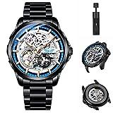 UNUORS Orologio da uomo, orologi da uomo meccanici automatici, orologi da polso luminosi impermeabili da uomo con cronografo UNUORS in acciaio inossidabile nero blu
