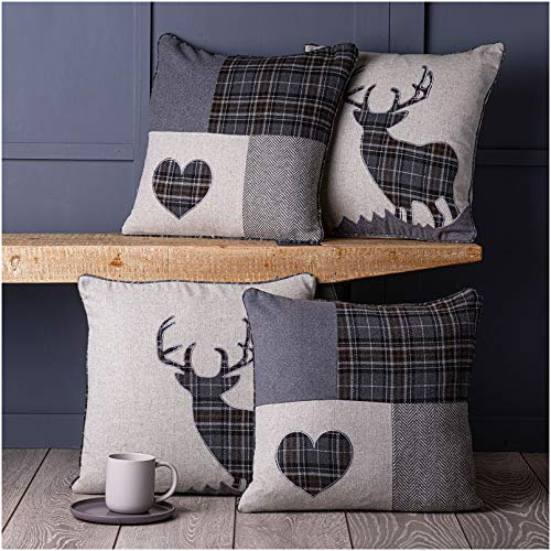 Red Rainbow Set of 4 Tartan Stag & Tartan Patchwork Heart Grey 18' / 45 cm Cushion Covers