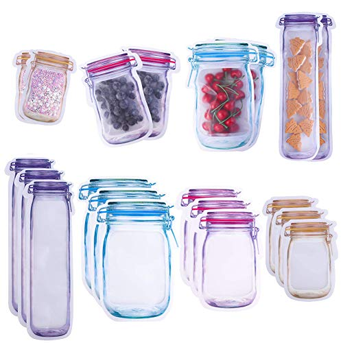 SUNSK Lebensmittel Beutel Mason Jar Flaschen Selbstklebender Beutel Einmachglas Flaschentaschen Aufbewahrungstasche Frischhaltedosen Snacks Frische Taschen 20 Stück