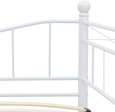 vidaXL Cadre de Lit Sommier à Lattes Lit Adulte Lit Double Lit Simple Cadre à Lattes sur Pied Chambre à Coucher Maison Intéri