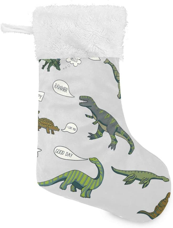 ALAZA 1pc Christmas Stockings 18 Large 2021 Recommendation autumn and winter new with inches Burlap Dinos