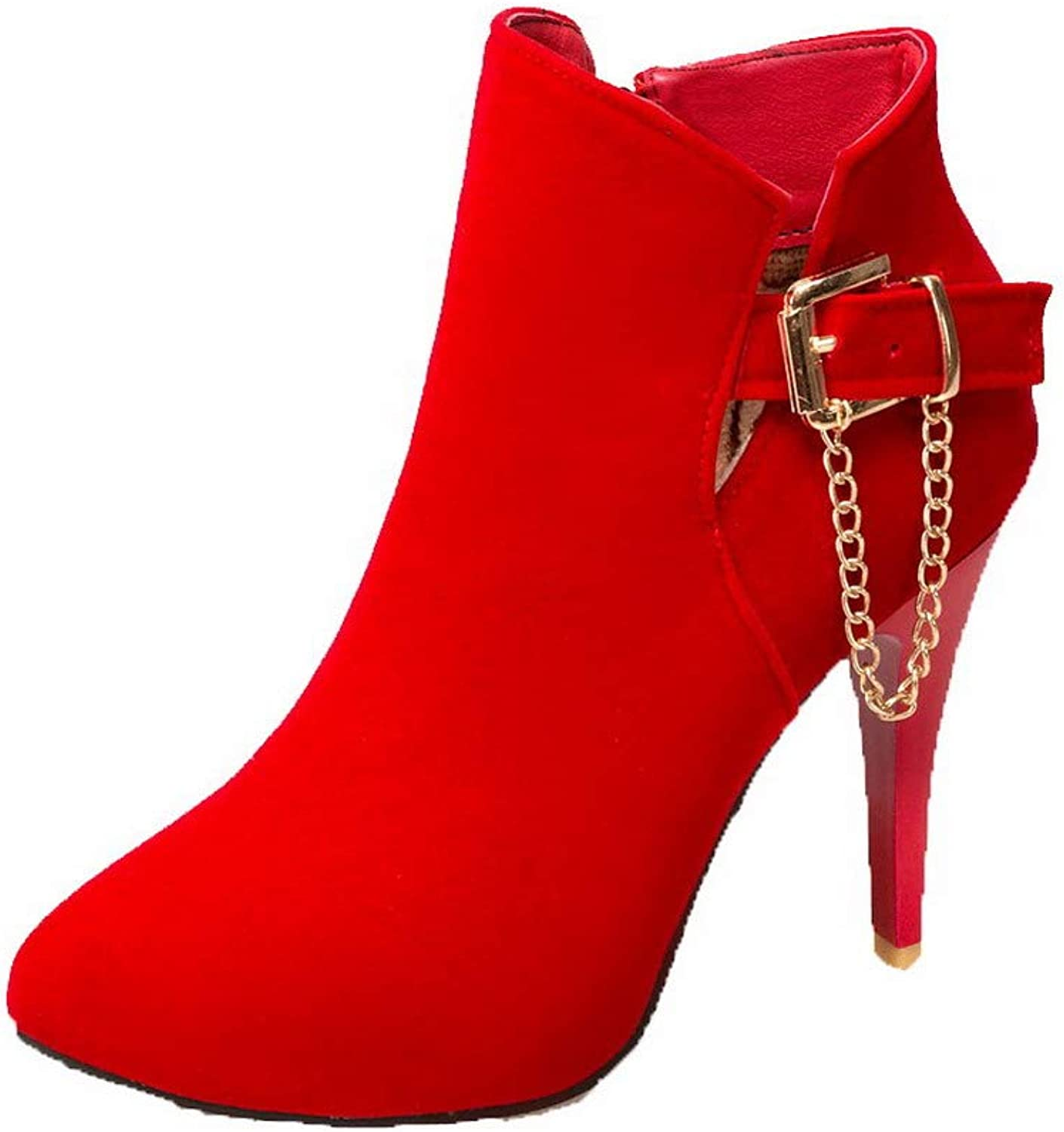 WeiPoot Women's Zipper High-Heels Imitated Suede Solid Ankle-High Boots, EGHXH126238