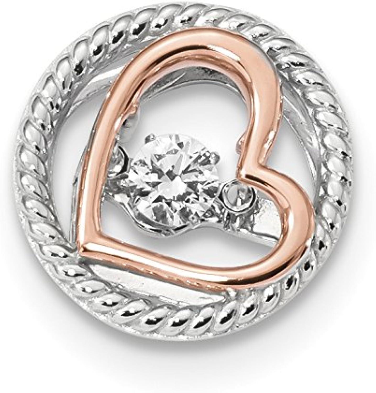 Diamond2Deal 925 Sterling Silver Platplate pinktone Vibrant Swar Zircon Heart Chain Slide Pendant
