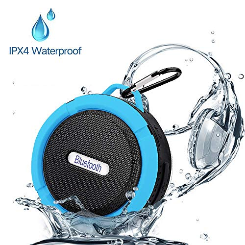 Mini Bluetooth Speakers, Wireless Waterproof Speakers with Super Bass,Shower Speaker with Suction Cup & Sturdy Hook, Compatible with iOS, Android, PC & iPad (Blue)
