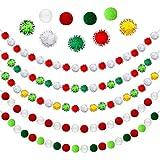 5 Guirnaldas de Pompones de Navidad Guirnaldas de Bolas de Fieltro Navideñas Adorno de Empavesado Colgante de Navidad Hecho a Mano Colorido de 6,5 Feet para Árbol de Navidad Chimenea Pared