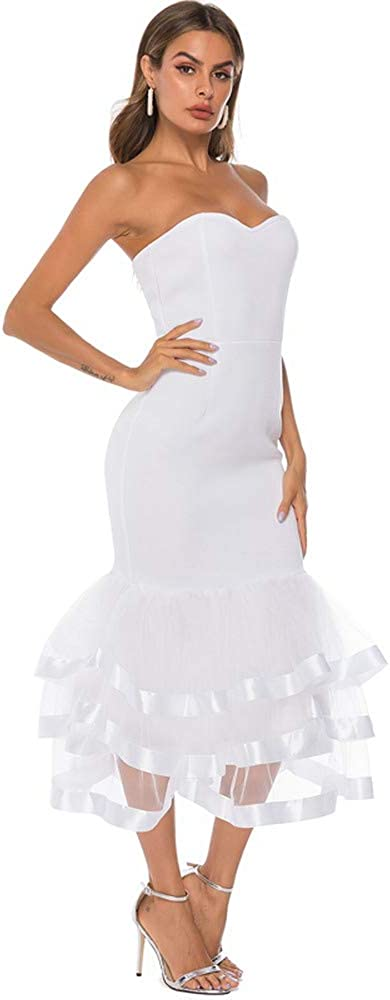 AOMEI Women White Dresses Off Shoulder Patchwork with Mesh Wedding Evening Bodycon Dress
