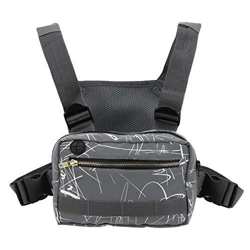 Qqmora 600D Oxford Nylon Cloth Nylon Chest Bag Reflektierendes Tuch, für Radsportarten, für den Außenbereich(Grey Pattern)