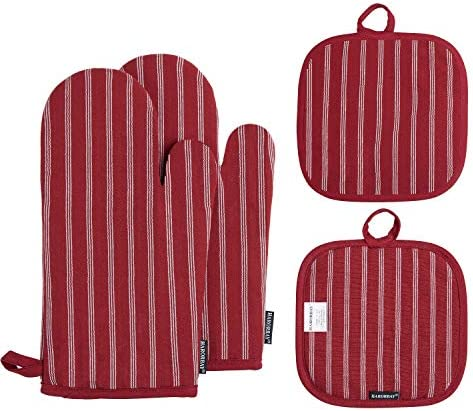 HARORBAY Cotton Oven Mitts and Pot Holders Heat Resistant Kitchen Oven Gloves Non Slip Washable product image
