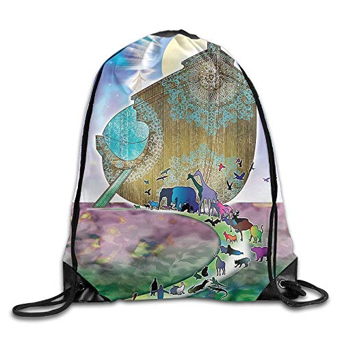 Mystic Noahs Ark Myth Themed Big Ship with all Couple Animals On The Shore Sacred Graphic Drawstring Bags Visor Backpack Sport Bag for Men & Women