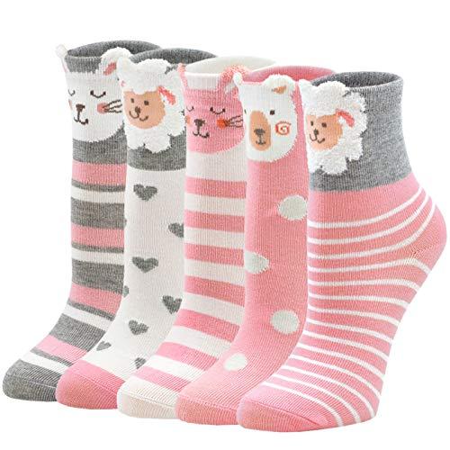 PUTUO Calcetines Niñas Invierno Calcetines Térmicos Niña Calcetines de Algodón, Calcetines Divertidos Niña Calcetines de Navidad Calcetines Animales, 5-7 años, 5 pares