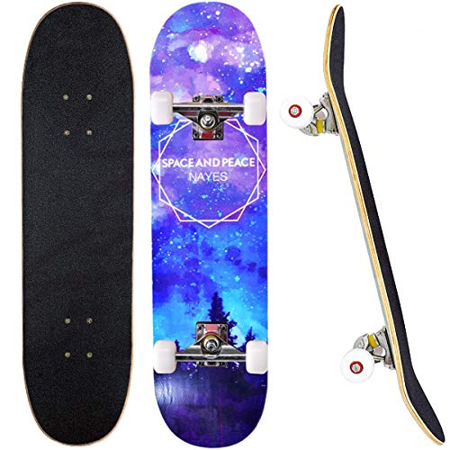 Komplettes Skateboard 31 x 8 Zoll mit Doppel-Kick, für Teenager, Kinder, Rwachsene, Anfänger, ABEC-7 Kugellager 7-lagiges Ahorn-Skateboard