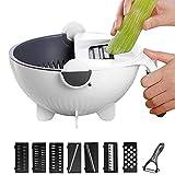 Volwco 9 in 1 Vegetable Cutter with Drain Basket, Multifunctional Vegetable Mandoline Slicer 2L Capacity Rotate Vegetable Chopper Graters, Kitchen Food Slicer Salad Machine Kitchen Tool