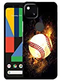 Glisten Google Pixel 4A Case - Baseball On Fire Printed Sleek, Slim Fit & Cute Plastic Hard Snap on Designer Back Google Pixel 4A Case(5.81') [Not for 4A 5G Version]