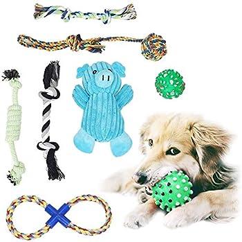 Lot de 7 jouets à mâcher pour chiot - Jouet à mâcher pour chien - Cochon en peluche bleu - Jouet à mâcher en corde de coton