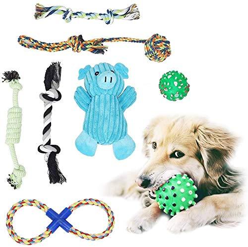 7-teiliges Welpenspielzeug Spielzeug Hund Hundespielzeug Set, Kauspielzeug Hund Hundespielzeug Welpe, Klingendes Blaues Plüschtierschwein, Klingendes Kauballspielzeug