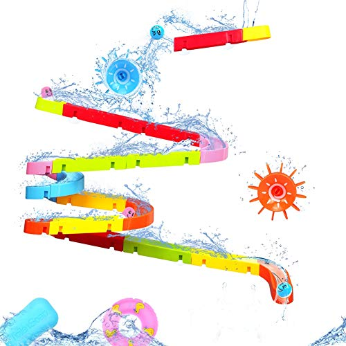 Fajiabao Kids Bath Toys Assemble Set Fun DIY Slide Indoor Waterfall Track Stick to Wall with Suction Cup and Wheels Water Ball Shower Floating Bathtub Toy Children Favor Birthday for Boys Girls