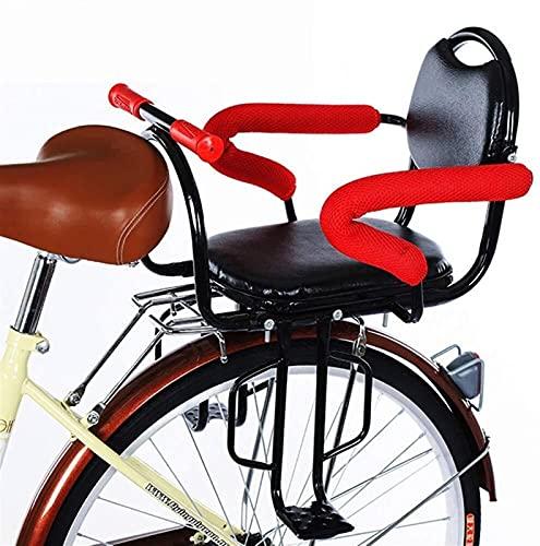 Bicicleta Asiento Trasero para Bebés Y Niños con Cojín Y Respaldo Pedales/Apoyabrazos, Valla Desmontable Asiento Trasero para Bici para Niños Portaequipajes De Seguridad Asiento Cojín