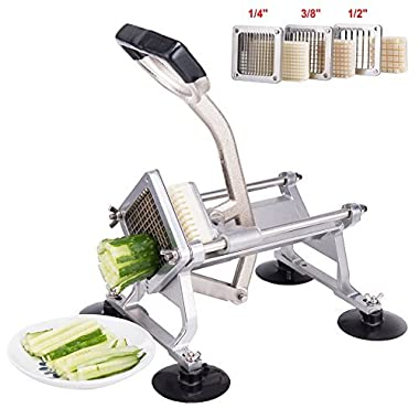 CO-Z Commercial Grade Aluminum Alloy Heavy Duty French Fry Cutter & Slicer with Suction Feet Complete Set (French Fry Cutter with 1/4 3/8 1/2 Wedge Blades)