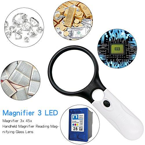 Leselupe 3X 45X Lupe mit 3 LED Licht, Thinkcase Handlupe Vergrößrungglas Lesevergrößerungsglas für Senioren, Lesen, Inspektion, Hobby, Handwerk, Uhrmacher , Münzen, Briefmarken, Antiquitäten, Objektiv Schmuck Lupe Weiß und Schwarz - 6