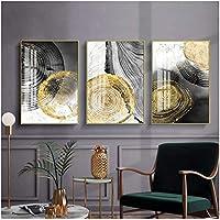 ピクチャープリント3ピース40x60cmフレームなしブラックインク年次リング抽象芸術ポスター北欧の壁画プリントミニマリストの写真リビングルームの家の装飾