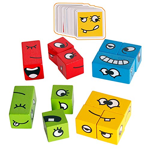 CHIYR Wooden Expressions Matching Block Puzzles Building Cubes Toy Borad Games Educational Montessori Toys for Kids Ages 3 Years and Up